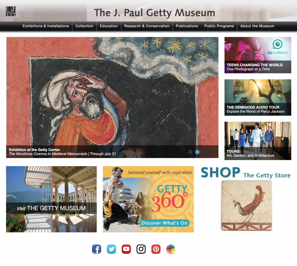 getty musem website design